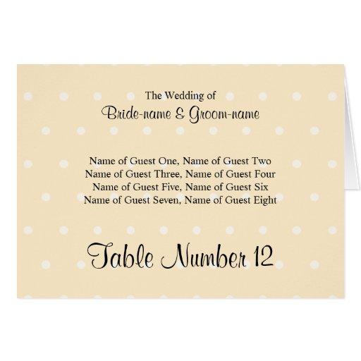 Cream Color Polka Dot Wedding Place Cards