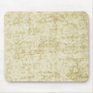 Cream Colored Damask floral Wallpaper Pattern Mouse Mat