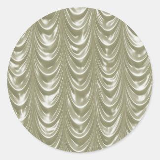 Cream colored Satin Fabric with Scalloped Pattern Round Sticker