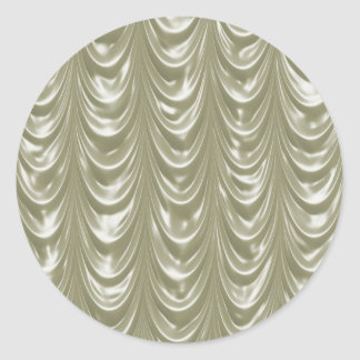 Cream colored Satin Fabric with Scalloped Pattern Round Sticker