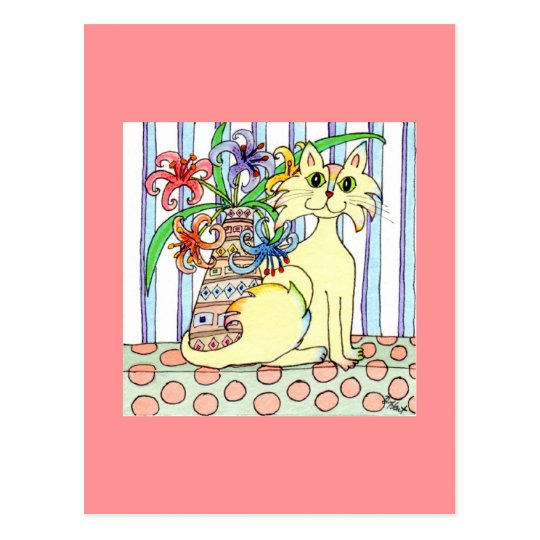 Cream-Coloured Cat with Pastel Lilies Postcard