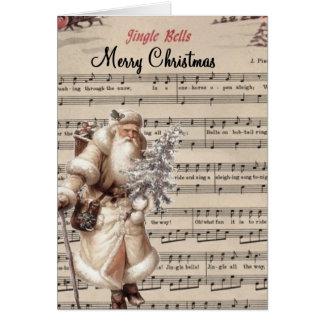 Cream coloured Santa Christmas card