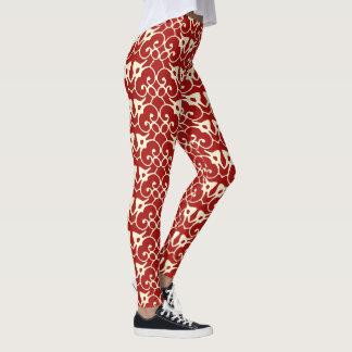 Cream & Crimson Art Nouveau Graphic Leggings