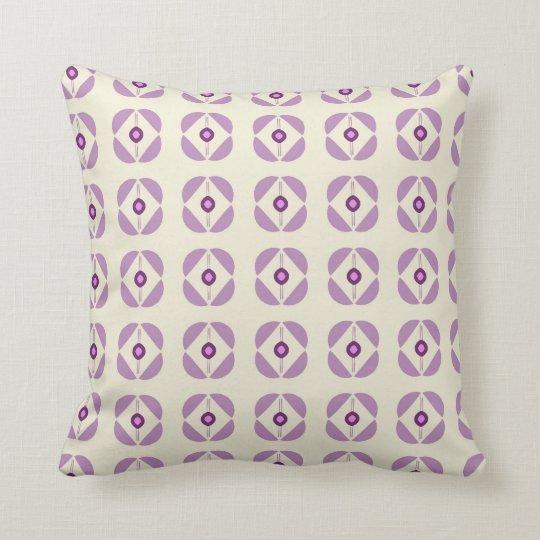 Cream Cushion with Purple Flower Design