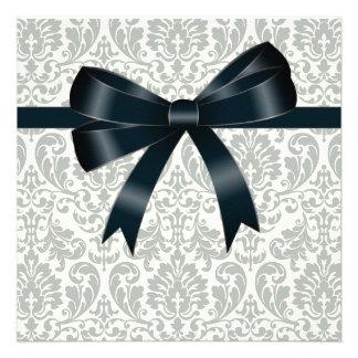 Cream Damask Black Party Custom Invites