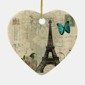 Cream Damask butterfly rose Paris Eiffel Tower Ceramic Heart Decoration