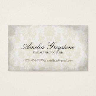 Cream Damask Elegant Vintage Business Card
