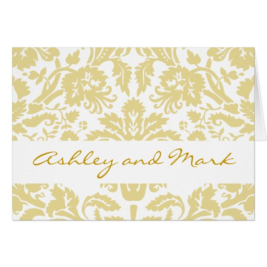 Cream Damask Gold Wedding Invitation Note Cards