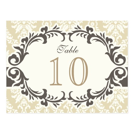 Cream Damask Table Number Postcard