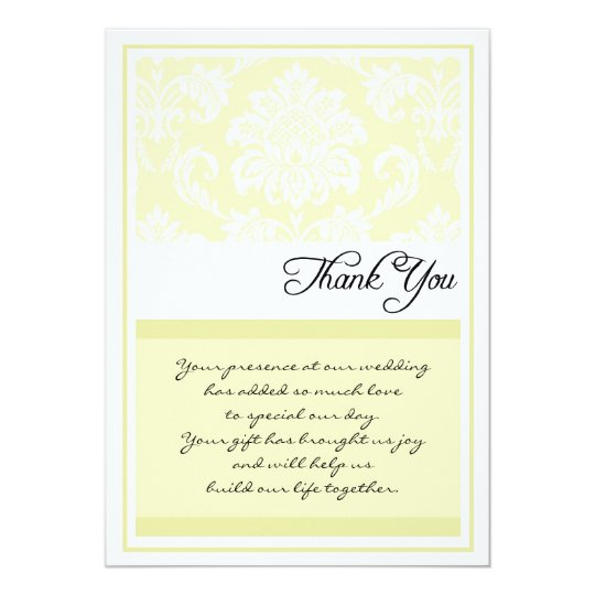 Cream Damask Wedding Thank You Cards