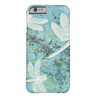 Cream Dragonflies on Blue Teal Background Barely There iPhone 6 Case