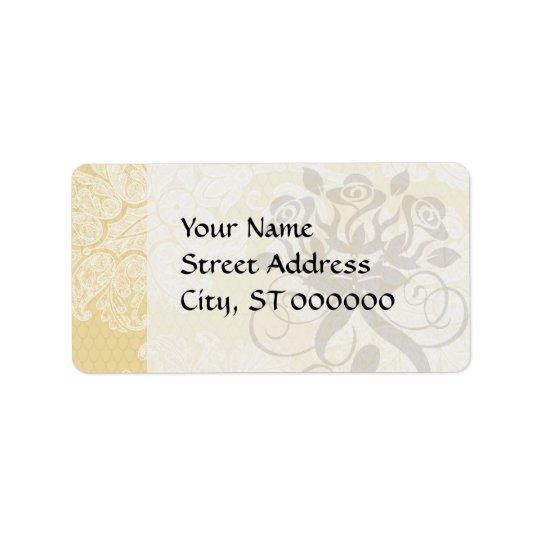 cream ecru floral elegant damask address label