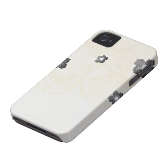 cream ecru floral elegant damask iPhone 4 Case-Mate cases