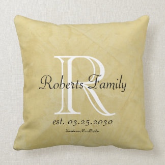 Cream Faux Leather Monogram Anniversary Throw Pillow