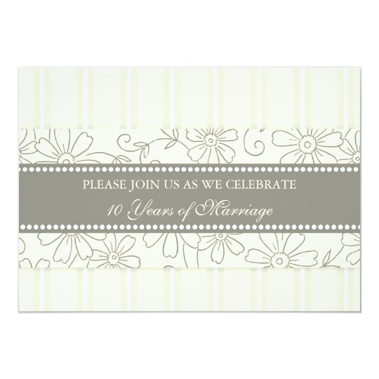 Cream Floral 10th Anniversary Party Invitation