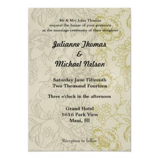 """Cream Floral 5"""" X 7"""" Invitation Card"""