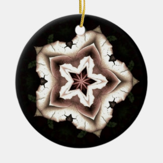 Cream Floral Kaleidoscope Christmas Ornament