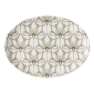 Cream Floral Pattern Porcelain Serving Platter