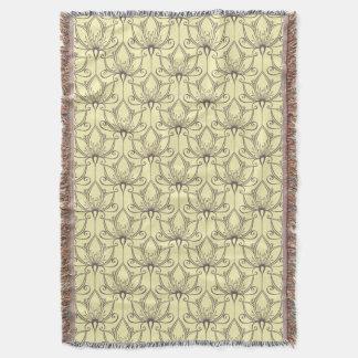Cream Floral Pattern Throw Blanket