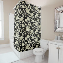 Cream Floral Toile On Black Shower Curtain