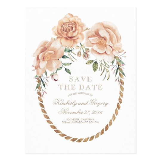 Cream Floral Watercolors Gold Wreath Save the Date