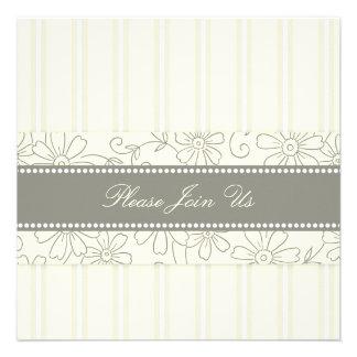 Cream Floral Wedding Vow Renewal Invitations