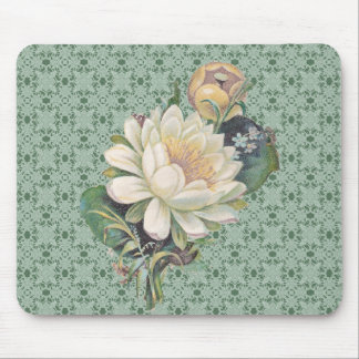 Cream Flowers And Lace Vintage Mouse Mat
