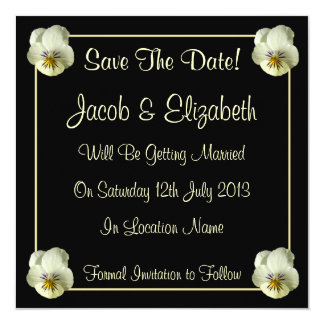 Cream Flowers Save the Date Wedding Invitations
