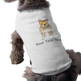 Cream French Bulldog. Dog Cartoon Sleeveless Dog Shirt