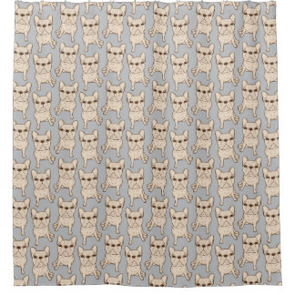 Cream French Bulldog Shower Curtain
