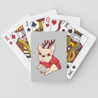 Cream Frenchie in Christmas Sweater Playing Cards