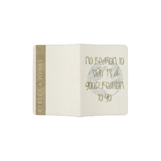 CREAM GOLD BLUE WORLD TRAVEL LIFE QUOTE MONOGRAM PASSPORT HOLDER