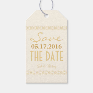 Cream Gold Ivory Modern Save The Date Wedding Tags