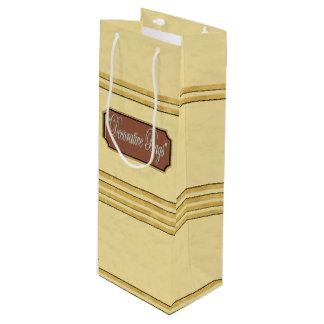 Cream Gold Lines Wine Gift Bag