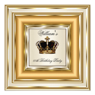 Cream Gold Silver Birthday Prince King Queen 13 Cm X 13 Cm Square Invitation Card
