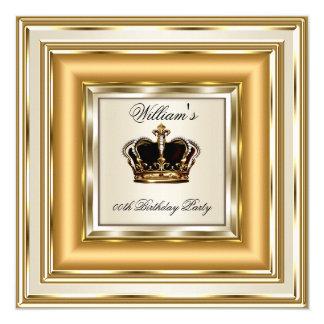 Cream Gold Silver Birthday Prince King Queen Card