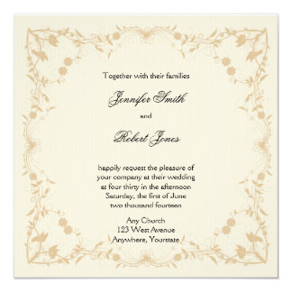 Cream Gold Vintage Pinstripe Floral Wedding 13 Cm X 13 Cm Square Invitation Card