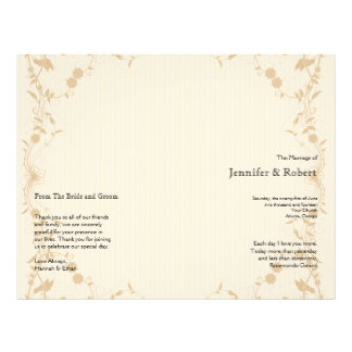 Cream Gold Vintage Pinstripe Wedding Program Full Color Flyer