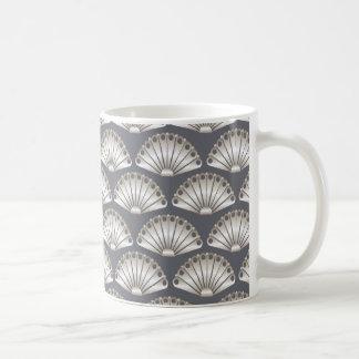 Cream & Gray Fan Pattern Mugs