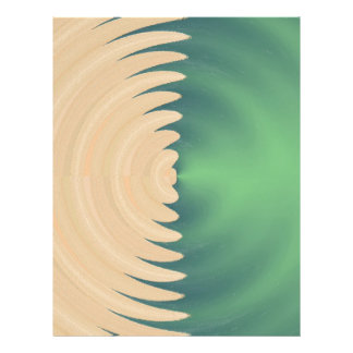 Cream Green Abstract Waves Pattern Flyer Design