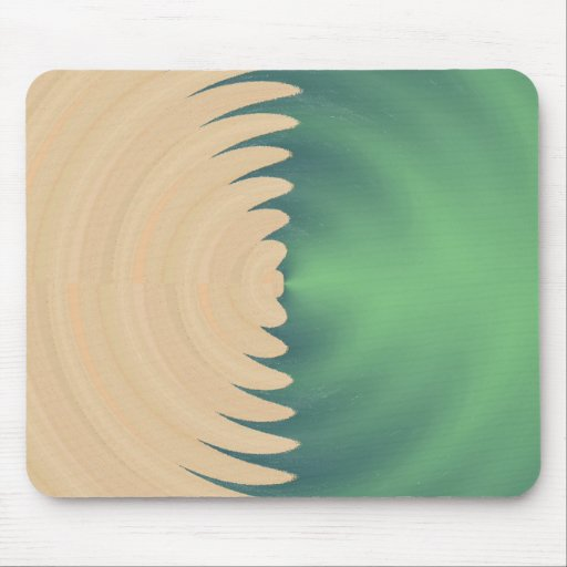 Cream Green Abstract Waves Pattern Mousepads