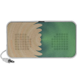 Cream Green Abstract Waves Pattern iPhone Speaker