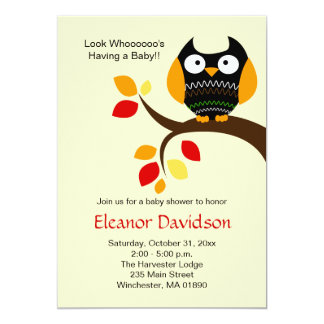 Cream Halloween Owl Autumn Baby Shower Invite 5x7