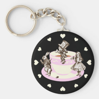 Cream Hearts Around a Mad Tea Party Basic Round Button Key Ring