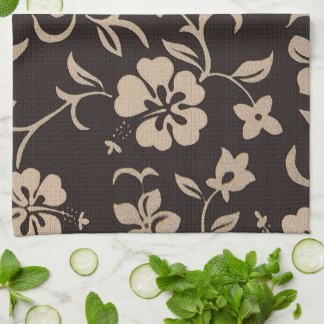 Cream Hibiscus Flowers on Brown 1 Tea Towel
