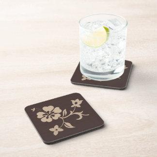 Cream Hibiscus Flowers on Brown 2 Beverage Coasters