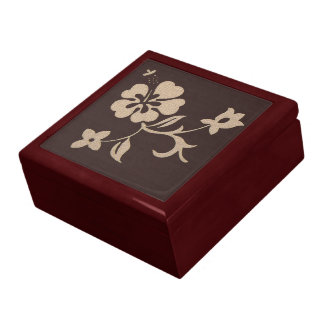 Cream Hibiscus Flowers on Brown 2 Large Square Gift Box