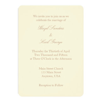 Cream Ivory Brown Plain Simple Wedding Invitation