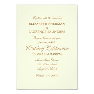 Cream Ivory Brown Plain Simple Wedding Invitation