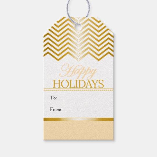 Cream Ivory White Faux Gold Chevron Christmas Tags